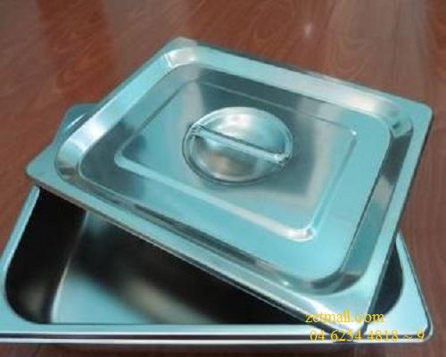 Khay đựng đồ ăn Inox, 35x25x6.5cm, Có nắp